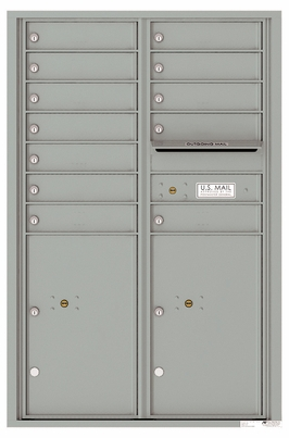 Versatile Front Loading Commercial Mailbox with 12 Tenant Compartments and 2 Parcel Lockers - Double Column