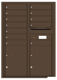 Versatile Rear Loading Commercial Mailbox with 12 Tenant Doors and 2 Parcel Lockers - Double Column