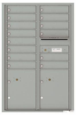 Versatile Front Loading Commercial Mailbox with 14 Tenant Compartments and 2 Parcel Lockers - Double Column