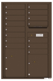 Versatile Rear Loading Commercial Mailbox with 15 Tenant Compartments and 2 Parcel Lockers - Double Column