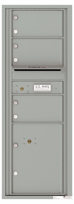 Versatile Front Loading Commercial Mailbox with 3 Tenant Compartments and 1 Parcel Locker - Single Column