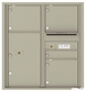 Versatile Front Loading Double Column Commercial Mailbox with 4 Tenant Compartments and 1 Parcel Locker