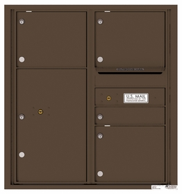 Versatile Rear Loading Double Column Commercial Mailbox with 4 Tenant Compartments and 1 Parcel Locker
