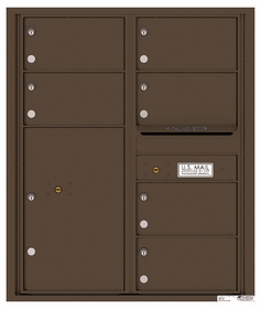 Versatile Rear Loading Double Column Commercial Mailbox with 6 Tenant Compartments and 1 Parcel Locker