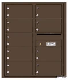 Versatile Rear Loading Double Column Commercial Mailbox with 9 Tenant Compartments and Outgoing Mail Slot