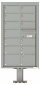 Versatile Front Loading Double Column Pedestal Mailbox with 13 Tenant Doors