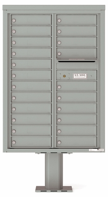Versatile Front Loading Double Column Pedestal Mailbox with 22 Tenant Doors and Outgoing Mail Slot
