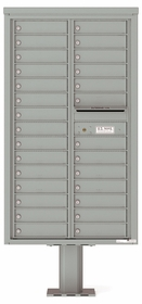 Versatile Front Loading Double Column Pedestal Mailbox with 28 Tenant Doors