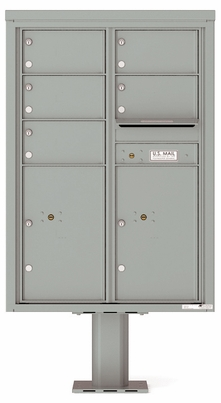 Versatile Front Loading Double Column Pedestal Mailbox with 5 Tenant Doors and 2 Parcel Lockers