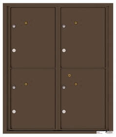 Versatile Rear Loading Fully Recessed Double Column Commercial Mailbox with 4 Extra-Large Parcel Lockers