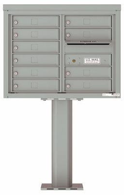 Versatile Front Loading Pedestal Mailbox with 10 Tenant Doors and Outgoing Mail Slot