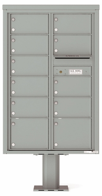 Versatile Front Loading Pedestal Mailbox with 11 Tenant Doors and Outgoing Mail Slot