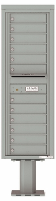Versatile Front Loading Pedestal Mailbox with 12 Tenant Compartments