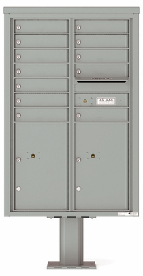 Versatile Front Loading Pedestal Mailbox with 12 Tenant Doors and 2 Parcel Lockers