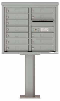 Versatile Front Loading Pedestal Mailbox with 12 Tenant Doors and Outgoing Mail Slot