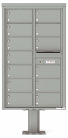 Versatile Front Loading Pedestal Mailbox with 13 Tenant Compartments