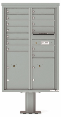 Versatile Front Loading Pedestal Mailbox with 13 Tenant Doors and 2 Parcel Lockers