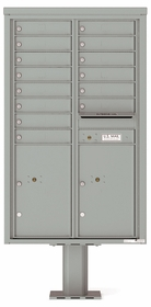 Versatile Front Loading Pedestal Mailbox with 14 Extra-Large Tenant Doors and 2 Parcel Lockers