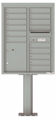 Versatile Front Loading Pedestal Mailbox with 15 Tenant Doors and 1 Parcel Locker