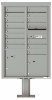 Versatile Front Loading Pedestal Mailbox with 15 Tenant Doors and 2 Parcel Lockers