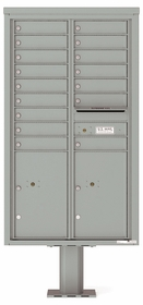 Versatile Front Loading Pedestal Mailbox with 16 Extra-Large Tenant Doors and 2 Parcel Lockers