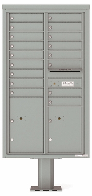 Versatile Front Loading Pedestal Mailbox with 17 Tenant Doors and 2 Parcel Lockers