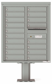 Versatile Front Loading Pedestal Mailbox with 18 Tenant Doors and Outgoing Mail Slot