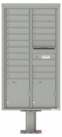 Versatile Front Loading Pedestal Mailbox with 19 Tenant Doors and 2 Parcel Lockers
