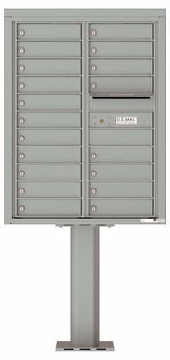 Versatile Front Loading Pedestal Mailbox with 19 Tenant Doors and Outgoing Mail Slot