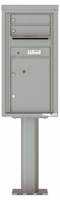 Versatile Front Loading Pedestal Mailbox with 2 Tenant Doors and 1 Parcel Locker