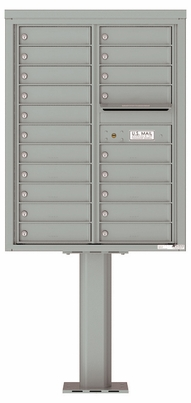 Versatile Front Loading Pedestal Mailbox with 20 Tenant Doors with Outgoing Mail Slot