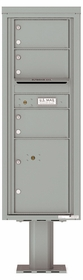 Versatile Front Loading Pedestal Mailbox with 3 Tenant Doors and 1 Parcel Locker