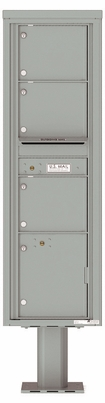 Versatile Front Loading Pedestal Mailbox with 3 Large Tenant Doors and 1 Parcel Locker
