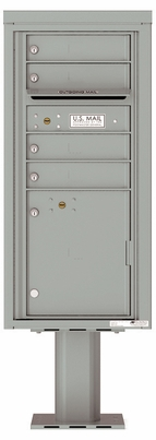 Versatile Front Loading Pedestal Mailbox with 4 Extra-Large Tenant Doors and 1 Parcel Locker