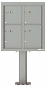 Versatile Front Loading Pedestal Mailbox with 4 Parcel Lockers