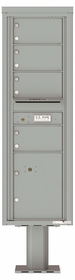 Versatile Front Loading Pedestal Mailbox with 4 Medium Tenant Doors and 1 Parcel Locker