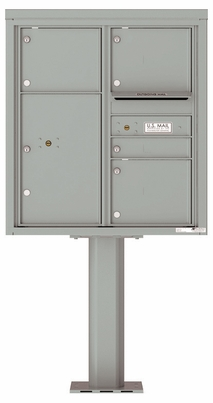 Versatile Front Loading Pedestal Mailbox with 4 Double Column Tenant Doors and 1 Parcel Locker