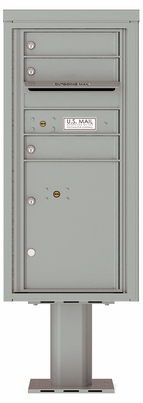 Versatile Front Loading Pedestal Mailbox with 3 Extra-Large Tenant Doors and 1 Parcel Locker