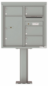 Versatile Front Loading Pedestal Mailbox with 4 Extra-Large Tenant Doors and 1 Parcel Unit