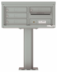 Versatile Front Loading Pedestal Mailbox with 4 Tenant Doors with Outgoing Mail Slot