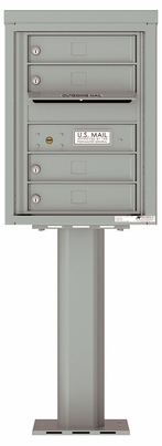 Versatile Front Loading Pedestal Mailbox with 4 Tenant Doors with Outgoing Mail Slot - Single Column