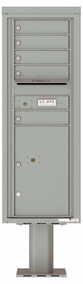 Versatile Front Loading Pedestal Mailbox with 5 Tenant Doors and 1 Parcel Locker - Single Column