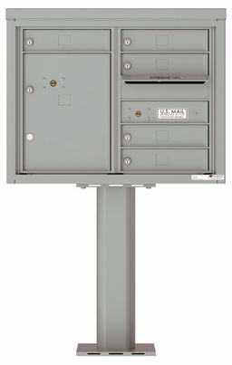 Versatile Front Loading Pedestal Mailbox with 5 Tenant Doors and 1 Parcel Locker