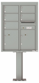 Versatile Front Loading Pedestal Mailbox with 5 Tenant Doors and 2 Parcel Lockers