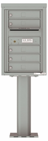 Versatile Front Loading Pedestal Mailbox with 5 Tenant Doors and Outgoing Mail Slot - Single Column