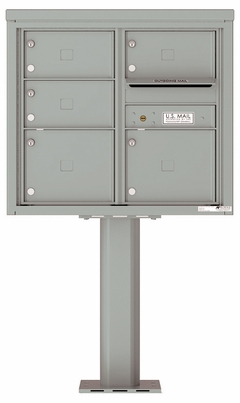 Versatile Front Loading Pedestal Mailbox with 5 Tenant Doors and Outgoing Mail Slot - Double Column