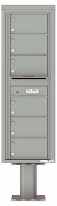 Versatile Front Loading Pedestal Mailbox with 6 Tenant Compartments
