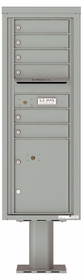 Versatile Front Loading Pedestal Mailbox with 6 Tenant Doors and 1 Parcel Locker - Single Column
