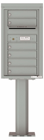 Versatile Front Loading Pedestal Mailbox with 6 Tenant Doors and Outgoing Mail Slot - Single Column
