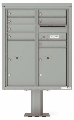 Versatile Front Loading Pedestal Mailbox with 7 Extra-Large Tenant Doors and 2 Parcel Lockers